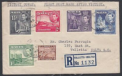 Malta 1945 Registered Kgvi Pictorial First Day 'victory' Cover Fdc Valletta