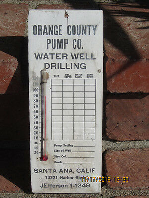 Vintage Wooden Water Well Drilling Advertising Thermometer