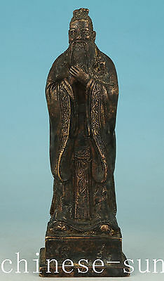 Tastefully Chinese Old Bronze Handmade Carving Confucius Collect Statue fIGURE