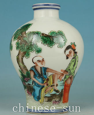 Asian Chinese Old Porcelain Handmade Painting Belle Collect vase Snuff bottle