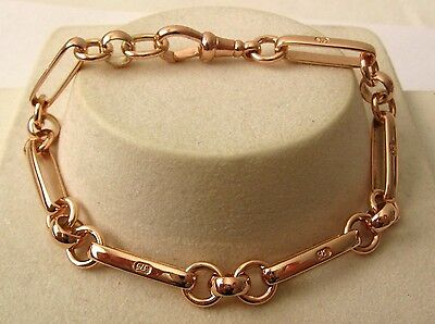 GENUINE SOLID 9K 9ct ROSE GOLD ALBERT BRACELET with SWIVEL CLASP