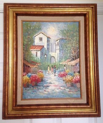 """Original Signed By The Artist Oil On Canvas Painting Street Scene 23""""x19"""""""