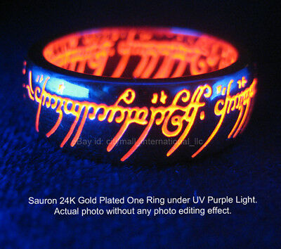 New LORD OF THE RINGS SAURON ONE RING 24K GOLD PLATE UV RED HOBBIT BILBO
