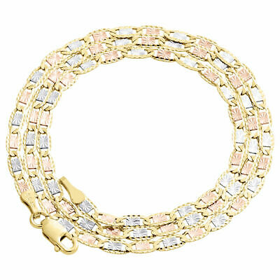 Real 10K Tri-Tone Gold Solid Valentino Link Chain 2.75mm Necklace 16 - 24 Inches
