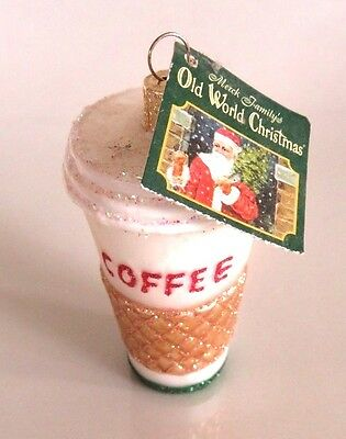 Old World Christmas New Nwt Coffee To Go Cup Glass Ornament,merck Family