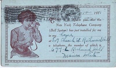 Antique Post Card New York Telephone Co Installation Notice 1911