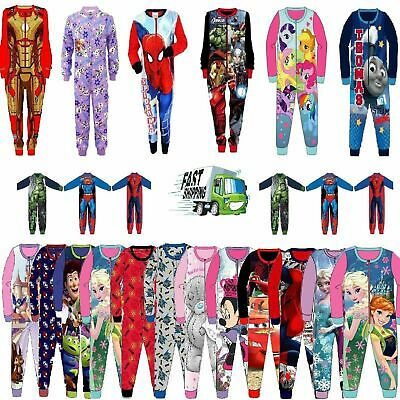 All In One Character Pyjamas Cotton Fleece Pj Nightwear Boys Girls Kids Xmas
