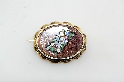 Victorian Goldstone Mosaic Gold Filled Oval Pin Brooch