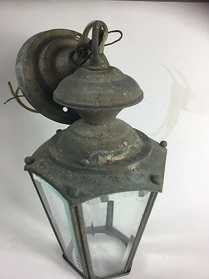 Vintage Ceiling Mount Brass Beveled Glass Six Pane Carriage light
