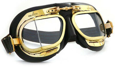 Halcyon Mark 49 Aviator Flying Goggles with Black Leather Mask & Polished Brass