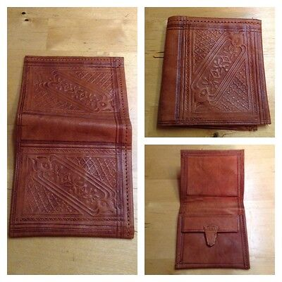 Vintage 70S Moroccan Tooled Leather Wallet Hippy Boho Ethnic Bohemian
