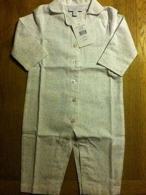 BNWT Little White Company Pink Spot Flannel Sleepsuit - Size 6-9 months