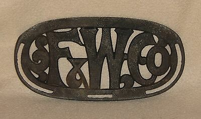 ANTIQUE F & W Co. NAME PLATE Fuller & Warren Troy, NY Stove & Furnace  STEAMPUNK