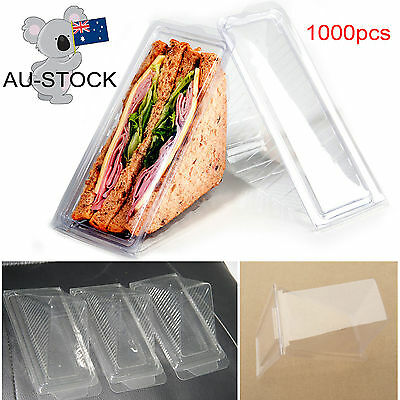 AU-STOCK New Practical Home Plastic Sandwich Container Triangle Wedge 1000PCs