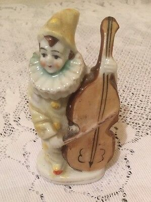 Vtg Japan Miniature Pierrot Clown Figurine With Cello Figural Toothpick Holder