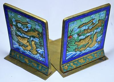 Vintage Chinese Glass Enamel on Brass Bookends with Dragon.