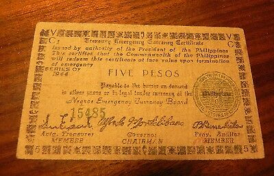 """Negro Emergency Currency 5 PESO EMERGENCY NOTE"""" 1944 Phillippines Very Rare!"""