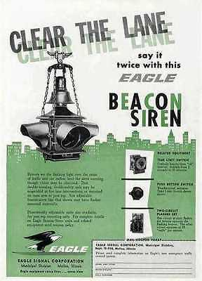 Clear the lane with the Eagle Beacon Siren  Ad   1958
