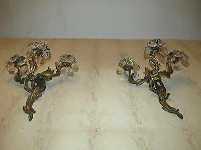 2 -10lb AGANTHUS SCONCES 36 VERY LRG PEAR CRYSTALS COLLECTIBLE SCONCES 16HX14WX8