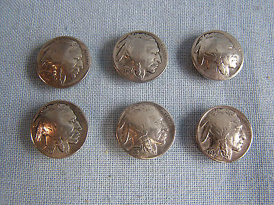 Vintage Indian Head 5 Cent Button Covers Old Authentic Buffalo Nickel *Lot of 6*