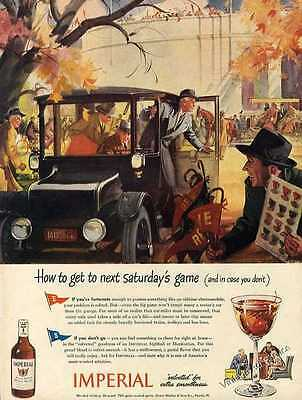 Oldtime Electromobile Football Art Imperial Whiskey Ad 1944 Original