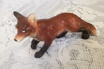 Vintage Japan Porcelain Red Fox Figurine Figure Animal Statue
