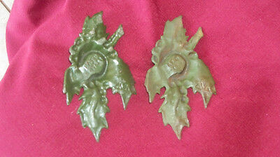 Vintage Pair of  Antique 1921 Patent Cast Iron Holly Candle Holders