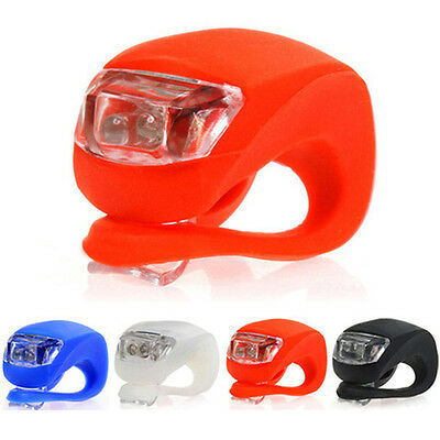 New 1x Silicone Bike Bicycle Cycling Head Front Rear Wheel LED Flash Light Lamp