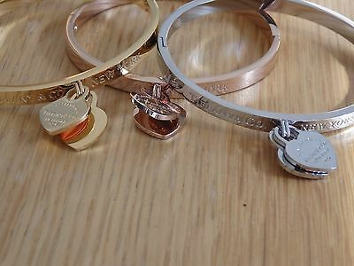 fashion heart tag bracelet bangle stainless plated rose yellow gold