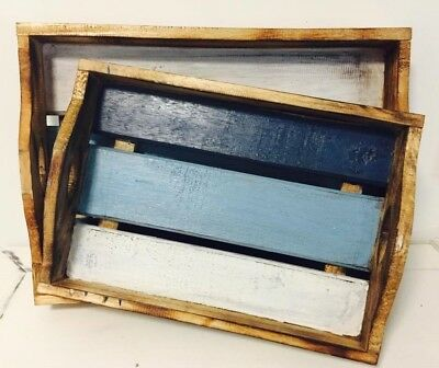 Handcrafted Handmade Hamptons Timber/Wood/Wooden Blue White Serving Tray Platter