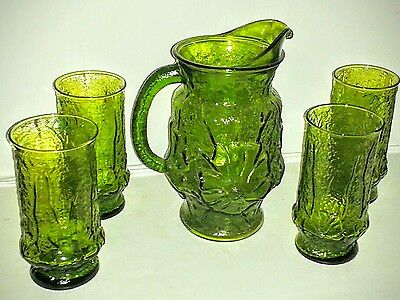 VINTAGE 1960s ANCHOR HOCKING GREEN RAIN FLOWER GLASS PITCHER WITH 4 GLASSES