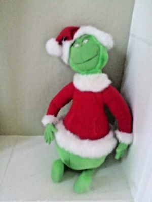 The Grinch Who Stole Christmas Plush Toy Animal Dr Seuss 1998 in Santa Outfit