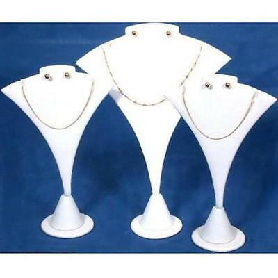 3 White Combo Necklace & Earring Stand Jewelry Display