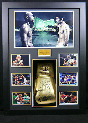 Mayweather And Pacman Signed Boxing Glove Framed 3D Display
