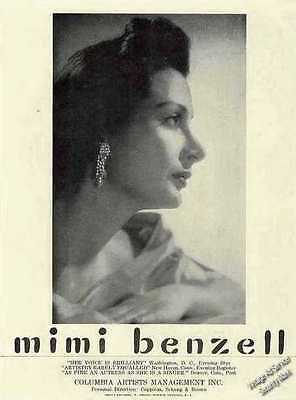 Mimi Benzell Photo Booking  Ad   1956