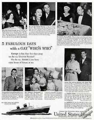 SS United States Famous Guests to Europe  Ad   1954