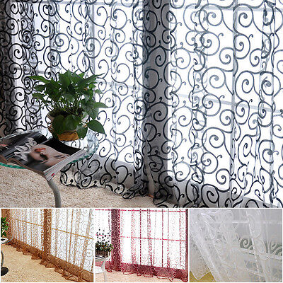 Modern Floral Tulle Voile Door Window Curtains Drape Panel Sheer Scarf Tenda