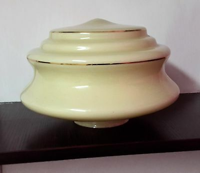 Yellow Art Deco Light Shade with Gold Rings