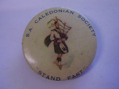 Vintage South Australia Caledonian Society Button Badge Piper Stand Easy