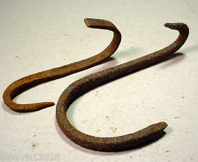 Forged Rusty Metal Meat Hook Hanging Anything You Want Primitive Antique PAIR