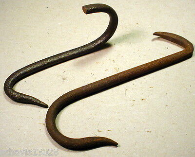 HUGE Forged Rusty Metal Meat Hook Hang Anything You Want Primitive Antique PAIR