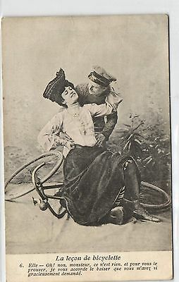 Bicycle, Elegant Lady Suffering a  Bicycle Accident, Old Postcard