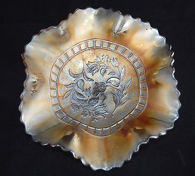 Vintage Carnival Glass Footed Bowl - Floral/Tulips - Scalloped & Fluted 22cm