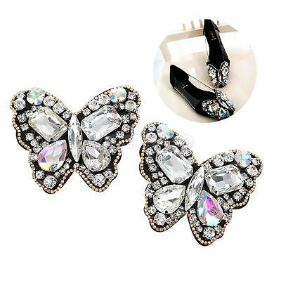 Pair Sewing On Rhinestone Butterfly Applique DIY Wedding Dress Decor Shoe Clips