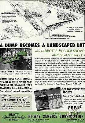 Drott Bull Clam Shovel Dump to Landscaped Lot Ad 1944 Original