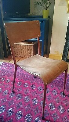 Vintage Industrial Old School Stacking Chair Dining Mid-century