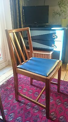 vintage wooden padded seat dining chair mid-century p- possibly ercol