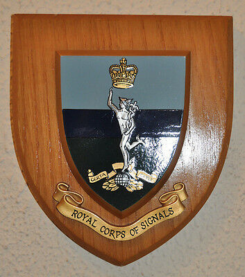 Royal Corps of Signals regimental mess wall plaque shield crest British Army