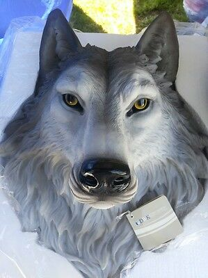 Beautiful Collectible Life Size Wolf  Head Wall Plaque