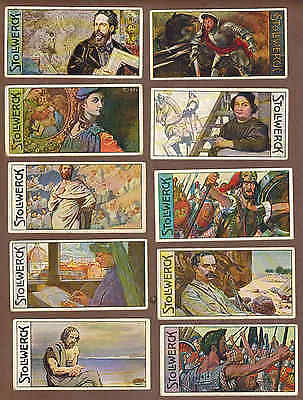FAMOUS MEN: Collection of 69 Rare STOLLWERCK CHOCOLATE Trade Cards (1908)